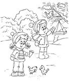 De kinderen voeden vogels Stock Afbeeldingen