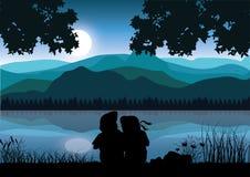 De kinderen zitten en letten op de natuurlijke schoonheid, Vectorillustraties Stock Fotografie