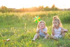 De kinderen zitten op het gras Stock Foto