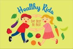 De kinderengroei met Gezondheids Vectorillustratie Royalty-vrije Stock Fotografie