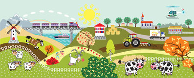 De kinderenillustratie van het Coutrysideleven Stock Foto's
