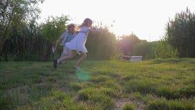 De kinderenspelen, de actieve jongen van pretjonge geitjes en het meisje met stuk speelgoed windmolensspel lopen en lopen in open stock footage