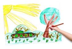 De kindhand met potlood trekt een beeld Royalty-vrije Stock Afbeeldingen
