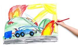 De kindhand met potlood trekt een beeld Stock Afbeeldingen