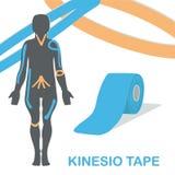 De Kinesioband verbetert zenuwreceptoren en vermindert pijn stock afbeeldingen