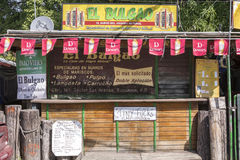 De kiosk van specialiteitzeevruchten in Boqueron, Puerto Rico Royalty-vrije Stock Foto's