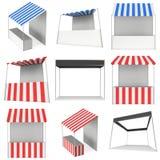 De kioskbox van de markttribune met het gestreepte afbaarden voor bevorderingsverkoop Royalty-vrije Stock Afbeelding