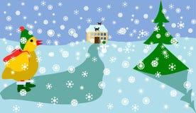 De kip gaat naar school in de winter royalty-vrije illustratie