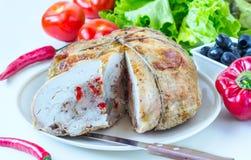 De kip met groenten wordt gevuld die Stock Foto's