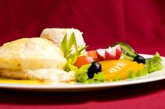 De kip van Gratinéed met risotto Stock Foto's