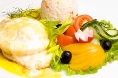 De kip van Gratinéed met risotto Royalty-vrije Stock Foto's