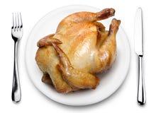 De kip van het braadstuk op een plaat. royalty-vrije stock fotografie