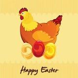 De kip van Pasen op eieren Royalty-vrije Stock Afbeeldingen