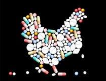 De Kip van tablettenpillen Stock Afbeelding