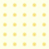 De kippen van de Cutiebaby met gele achtergrond Stock Afbeeldingen