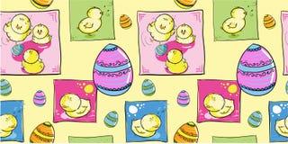 De kippen van Pasen met eieren - naadloos patroon Stock Fotografie