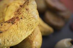De kippenfilet diende met pompoenpuree en aardappelen in de schil op een omhoog geschotene leiplaat 15close Stock Foto