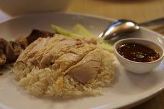 De kippenrijst van Hainanese Stock Afbeelding