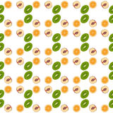 De kiwi van het patroonbehang, sinaasappel, perzik Fruitvector Royalty-vrije Stock Afbeelding
