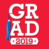 De klasse van 2019 Gelukwensen behaalt Typografie met sterren een diploma en royalty-vrije illustratie