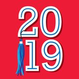 De klasse van 2019 Gelukwensen behaalt Typografie met sterren een diploma en vector illustratie