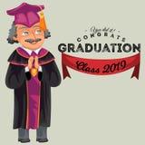 De klassen 2019 kleurrijke vette affiche van de Congratsgraduatie Kaukasische professor die gediplomeerden vectorillustratie gelu Stock Fotografie