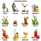 De klassieke Cocktails van New Orleans Royalty-vrije Stock Afbeelding