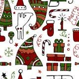 De klassieke gekleurde decoratieve hand getrokken vector van Kerstmiselementen Vector Illustratie