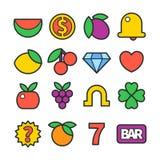 De klassieke pictogrammen van de gokautomaatlijn Stock Afbeeldingen