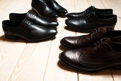 De klassieke schoenen van leermensen Stock Afbeelding