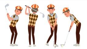 De klassieke Vector van de Golfspeler Schommeling op Cursus wordt geschoten die Verschillend stelt Vlakke beeldverhaalillustratie stock illustratie