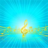 De klassieke zeer belangrijke gouden kleur van de muziek op het blauw Royalty-vrije Stock Afbeelding