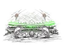 De kledijhelm van de deelnemersveenmol als gezicht met bal op veenmolstadion dat weg wordt gehouden vector illustratie