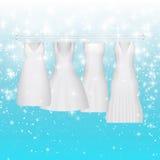 De kleding van de huwelijksbruid De mooie toga van het manier witte huwelijk de avondkleren van de elegantievrouw voor partij of  Stock Fotografie