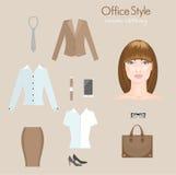 De kleding van het vrouwenbureau Infographics Stock Foto's