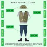 De kleding van mensen voor visserij, hoed, jasje, broek, schoenen vlakke stijl Stock Foto