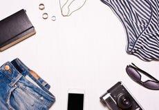 de kleding van reeks hipster vrouwen, accessorieson Royalty-vrije Stock Afbeeldingen
