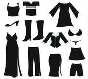 De kledings zwarte pictogrammen van vrouwen Royalty-vrije Stock Foto's