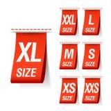 De kledingsetiketten van de grootte Royalty-vrije Stock Fotografie