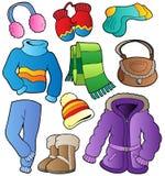 De kledingsinzameling 1 van de winter stock illustratie
