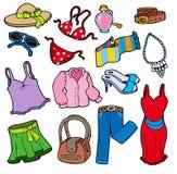 De kledingsinzameling van de vrouw Royalty-vrije Stock Afbeeldingen