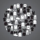 De kledingspictogrammen van witte en zwarte mensen in cirkel Stock Foto's