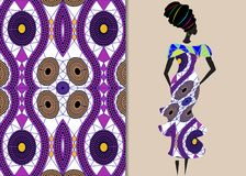 De kledingsvrouw van Ankara, Afrikaanse Drukstof, Etnisch met de hand gemaakt ornament voor uw ontwerp, Etnische en stammenmotiev vector illustratie