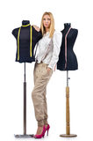 De kleermaker die van de vrouw aan kleding werkt Stock Foto