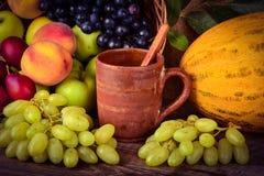 De kleimok van de oude pottenbakker en kleurrijke vruchten, stilleven Royalty-vrije Stock Foto