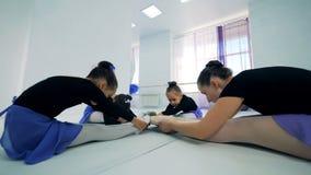 De kleine ballerina's rekken zich met hun instructeur in een zittingspositie uit stock video
