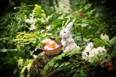 De kleine eieren van de konijngreep in mand en zoete wortel op de rots FO Royalty-vrije Stock Foto