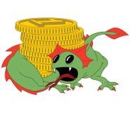 De kleine groene draak bewaakt de gouden muntstukken royalty-vrije illustratie