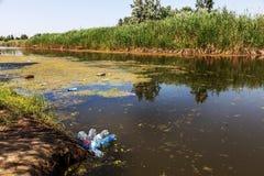 De kleine het sterven rivier werd overwoekerd met moerasinstallaties De verontreiniging van het omringen spreekt overzich, de sne royalty-vrije stock afbeelding