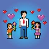 De kleine jonge geitjes geeft papabloemen - de stijlvector van de pixelkunst Stock Foto's